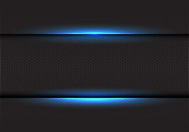 Blue light on dark hexagon mesh background.
