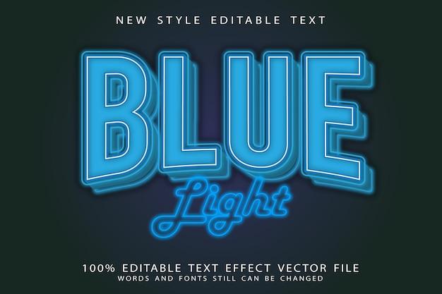 Blue light editable text effect emboss neon style