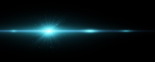 Blue light effect on a dark background. vector lens flare. explosion with sparks. bright flash