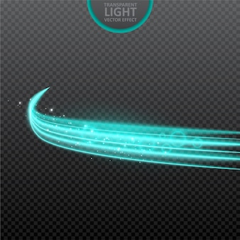 Blue light effect transparent background with realistic sparkles.