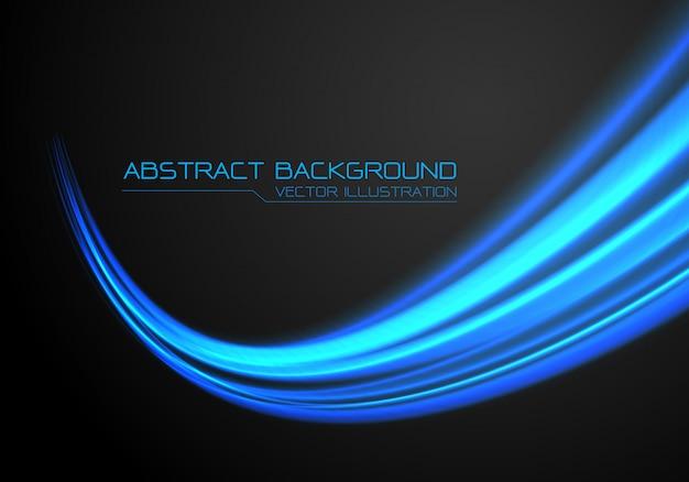 黒い背景に青い光の速い速度曲線の動き。