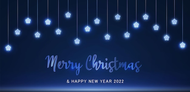 Blue light festive garland with neon dust bokeh overlay on transparent background 2022