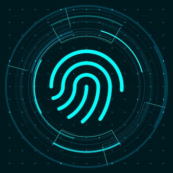 Blue light fingerprint icon and circle hud digital screen on dark background illustration, cyber security technology concept.