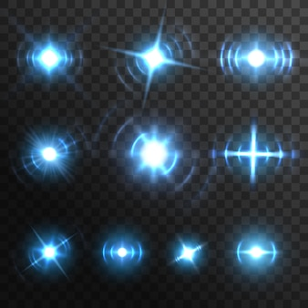 青い光のフレア、燃えるようなエネルギーバーストのリアルな効果、ベクトルスターの輝き。太陽の青い光の輝きと輝きのフラッシュグレア、透明な明るいキラキラビームと光沢のあるレンズ光線、魔法のネオンスポットライト