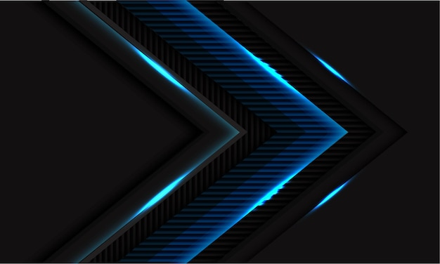 Blue light glossy lines texture arrow direction on black with blank space modern futuristic technology background