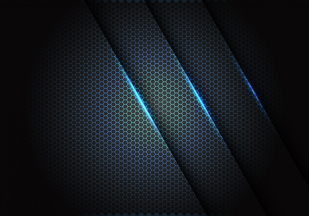 Blue light on hexagon mesh pattern in dark grey background.