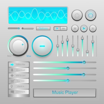 Blue light music player icon vector