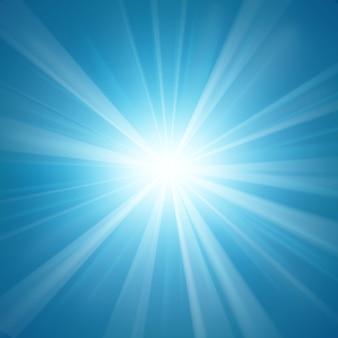 明るい背景に輝く青い光