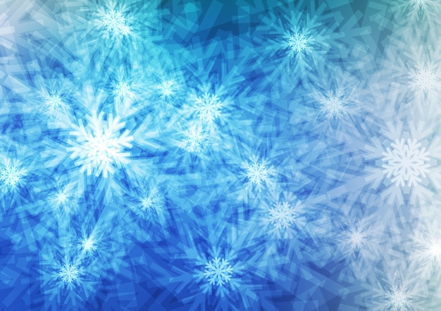Blue light snowflakes or crystal background