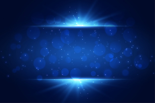 Blue light sparkles background with copyspace