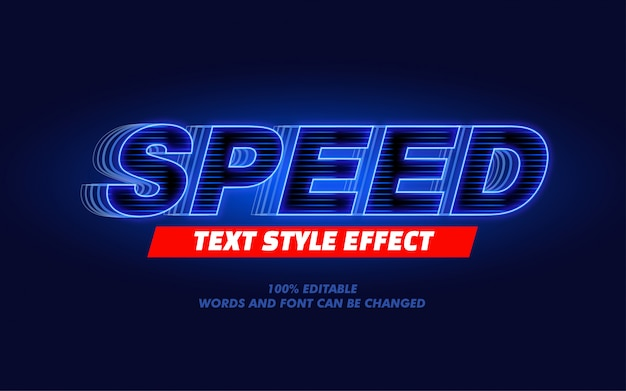 Blue light speed modern bold text style effect for movie headline