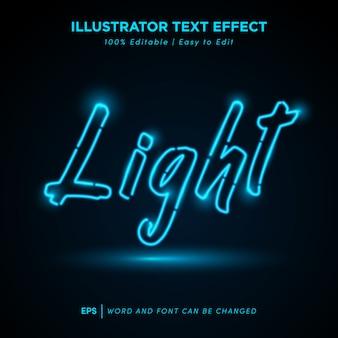 Blue light text effect editable font