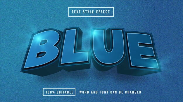 Blue light text effect editable