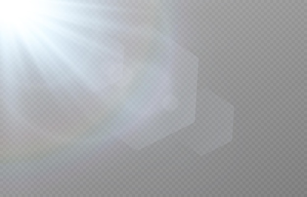 Синий свет с линзами бликов на прозрачном фоне