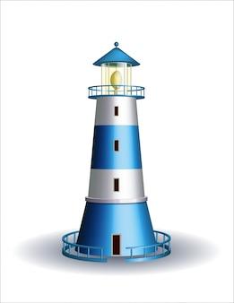 Blue lighthouse isolated on white