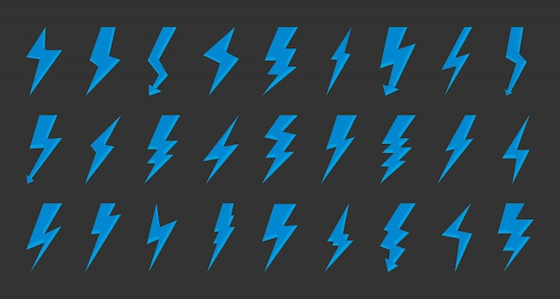 Blue lightning bolt icon flash logotype vector set