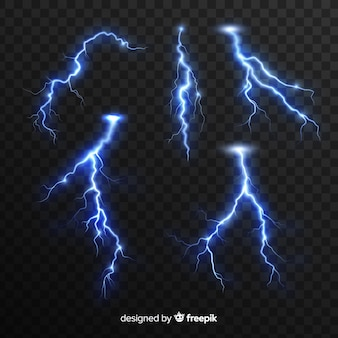 Blue lightning collection on transparent background