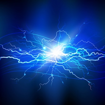 Blue lightning realistic background with a bright bunch of light