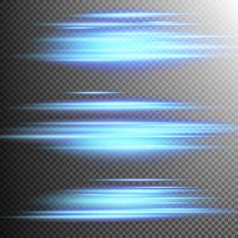 青色のライトライン効果レンズ。