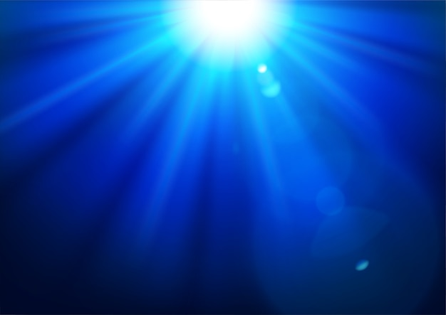 Blue lights shining with lens flare background
