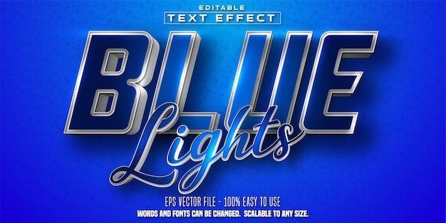 Blue lights text, shiny silver and blue color style editable text effect