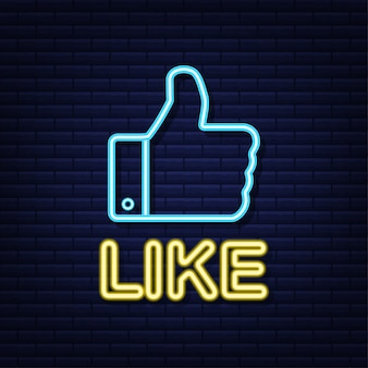 Blue like neon on light background. thumb up icon. hand like. social media network.   illustration.