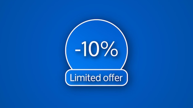 Blue limited offer banner with a 10% discount . white numbers on blue backgrounds with shadow. vector illustration