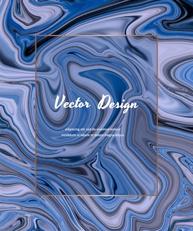 Blue liquid ink painting abstract cover design with frame.