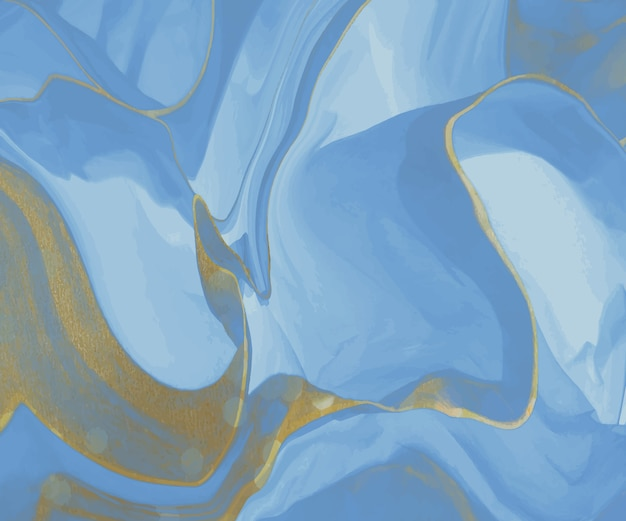 Blue liquid ink with golden glitter texture painting abstract pattern.