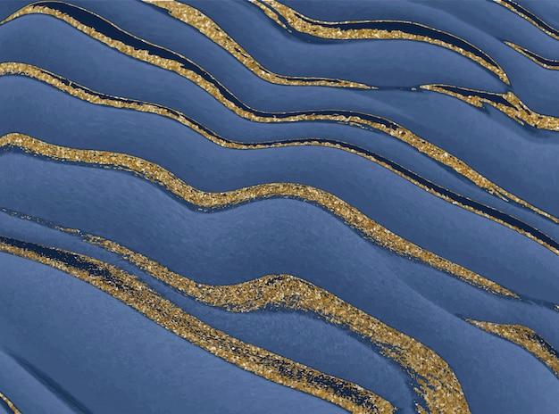 황금 반짝이 잉크 추상 배경으로 푸른 액체입니다.
