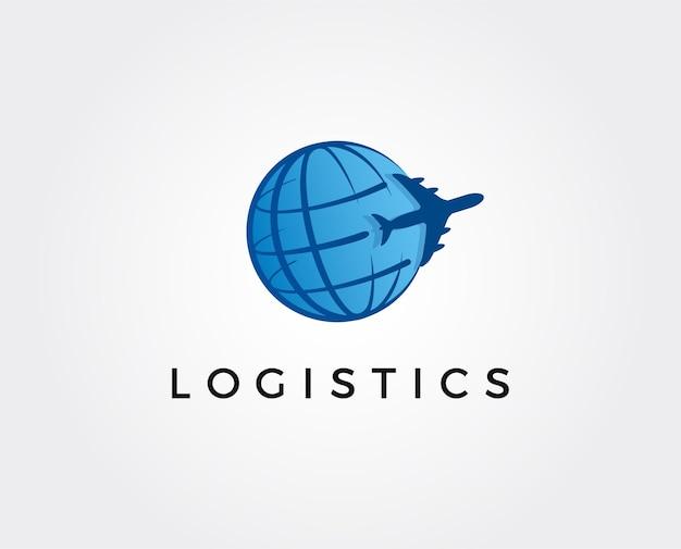 Синий логотип логистики с самолетом взлетает вектор