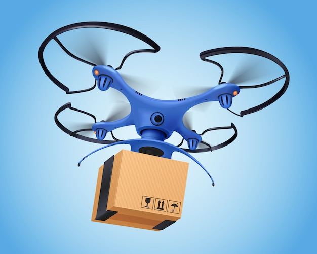 Blue logistics post drone realistic composition and it facilitates the delivery of postal service
