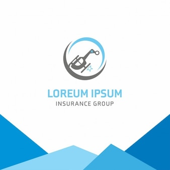 Blue logo, insurance, helicopter