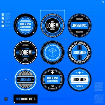 Blue logo template collection