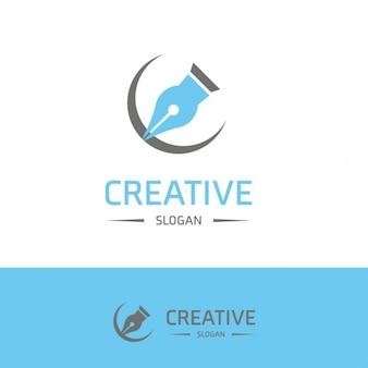 Blue logo with a pen