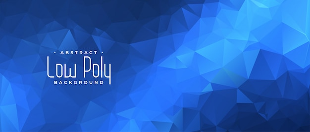 Blue low poly banner with triangle shapes background