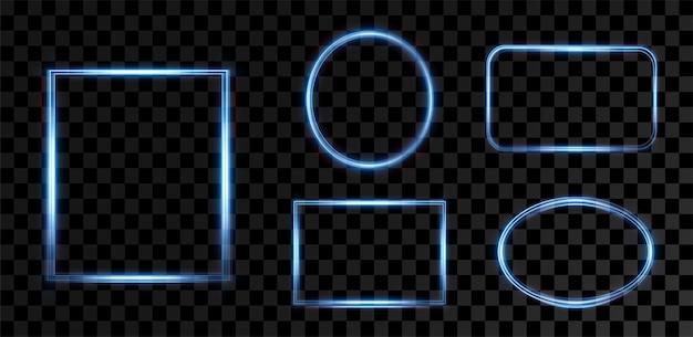青い発光フレームテキスト用のお祝いテンプレートお祝いテキスト用の青い境界線ライトフレームを設定png