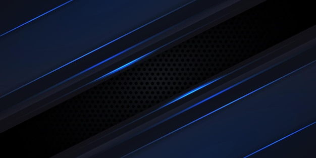 Синие светящиеся линии и блики на черном фоне технологии углеродного волокна.