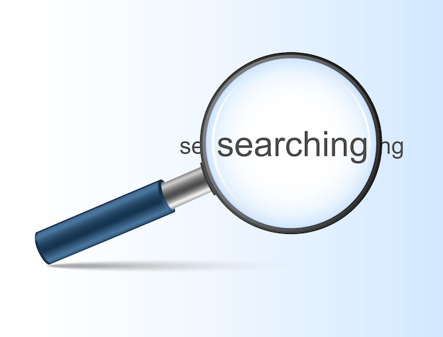 Blue magnifying glass with searching for search