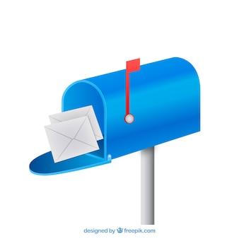 Синий фон почтовый ящик с конвертами