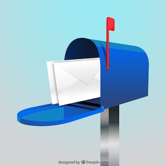 Blue mailbox background with envelopes