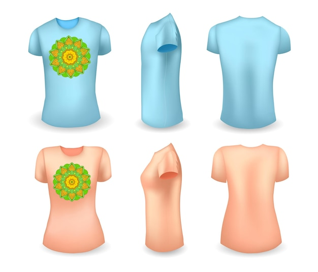 Blue male and pink female t shirt realistic template with mandala front side and back view vector