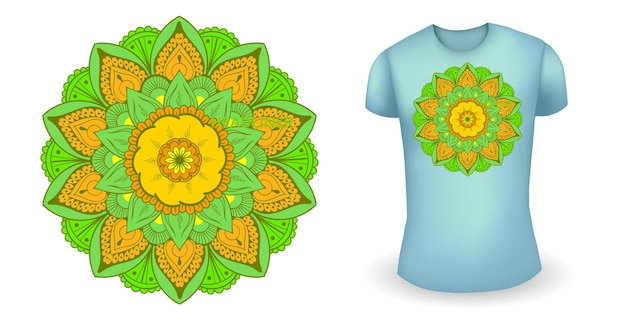 Blue male realistic t shirt with mandala vector