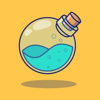 ブルーマナポーションボトルイラストデザインプレミアム孤立オブジェクトデザインコンセプト