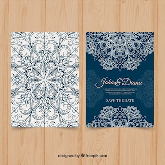Blue mandala wedding invitation