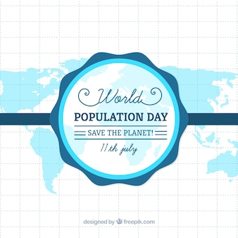 Blue map background of population day