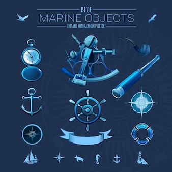 Blue marine objects