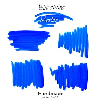 Blue marker scribble collection