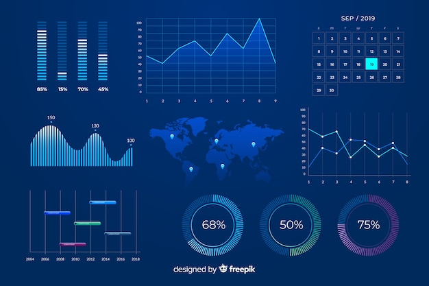 Blue marketing charts design template