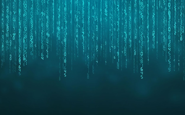 Blue matrix digital background. falling numbers digital network technology. futuristic cyberspace. vector illustration.